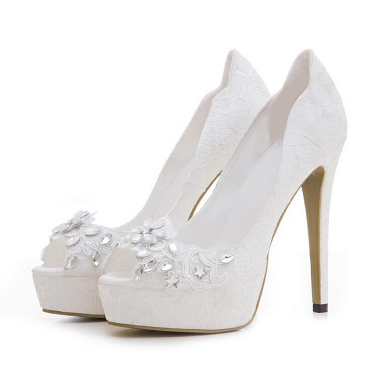 Zapatos Cm Diamantes Encaje Boda 12 Tacones Tacones Fishmouth Gran Tamaño Y De Del Altura 43 Tacón Agua Blanco Elegante Nuevo Vestido avxqFz