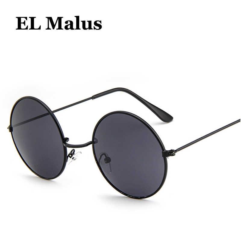 ca9c8b257d ...  EL Malus Retro Metal Frame Round Lens Sunglasses Men Women Blue Silver  Mirror Vintage ...