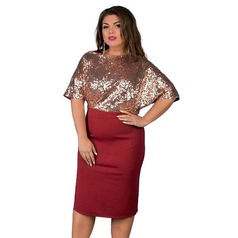 US $16.84 48% OFF|Wipalo Plus Size Bell Flare Sleeve Sequin Elegant Party  Dresses Women Black Red Club Bodycon Pencil Dress Big Size Vestidos 6XL-in  ...