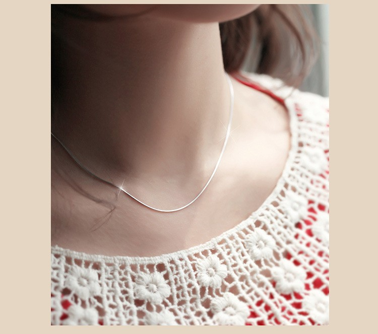 2017 High Quality 40-45Cm 925 Sterling Silver Snack Chain Necklace for Women,Fine Jewelry Best Christmas gift For Girl
