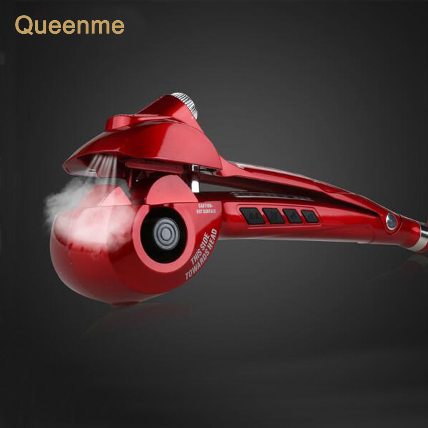 Queenme Steam Spray Hair Curler Curling Iron Hair Styler Tools Automatic Hair Care Machine Styling Hair Stick EU US Plug 2017 new hot sale professional salon ptc heating white color ceramic negative ions steam automatic hair curler hair style tools
