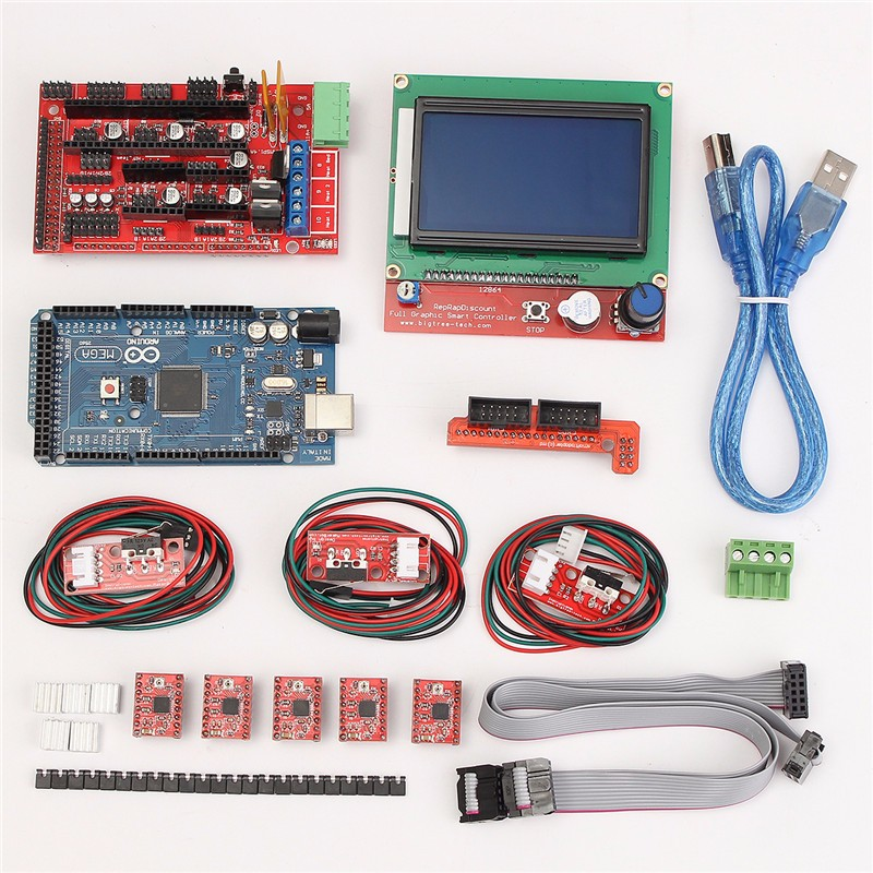 ФОТО Mega 2560 R3 + 1pcs RAMPS 1.4 Controller + 5pcs A4988 Stepper Driver Module /RAMPS 1.4 2004 LCD Control for 3D Printer Kit
