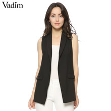 Vrouwen Mode elegant office lady pocket jas mouwloze vesten jas uitloper casual brand Vest colete feminino MJ73(China)