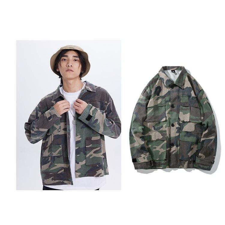 Hommes automne nouveau Camo poches bouton chemise veste haute Steet Camouflage veste