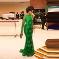 Long Sleeves 2017 Formal Celebrity Dresses Mermaid Green Appliques Lace Long Evening Dress Famous Red Carpet Dresses