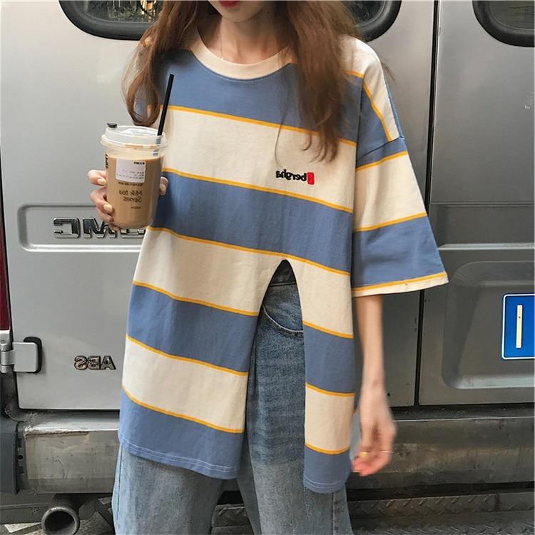 harajuku T-shirts Women Summer Clothes 2019 Chic Ulzzang Trendy Striped Split Oversize Short Sleeve T shirt Loose Student tshirt Футболка