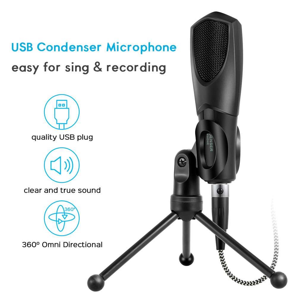 Microphone USB Studio Condenser Recording Microphone For YouTube Games with Microphones Stand Microfone Mikrofon For Laptop Mic image