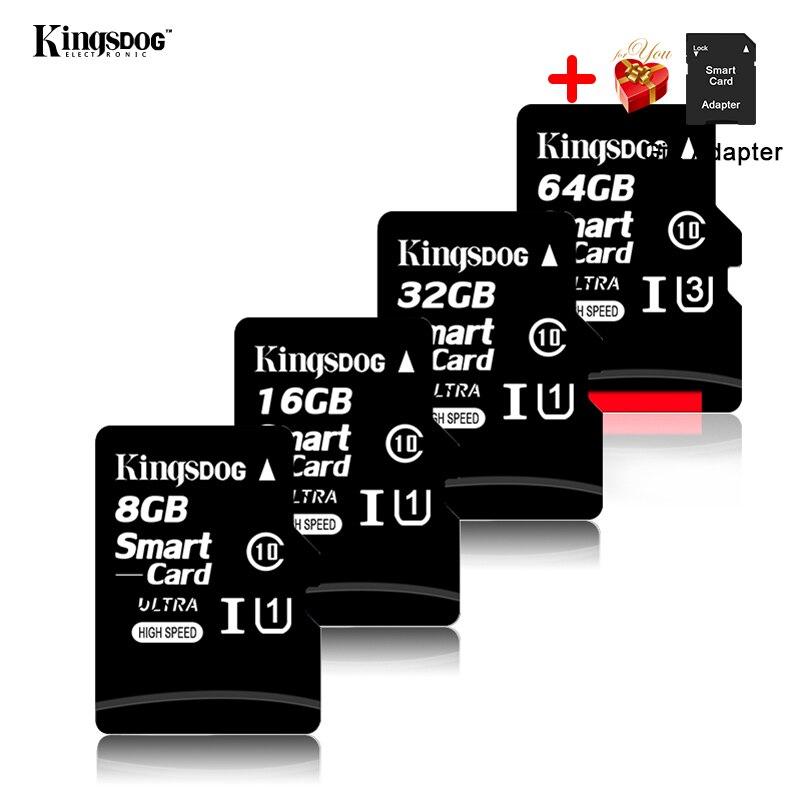 מחשבי וברזי השקיה kingsdog כרטיס זיכרון 32GB 16GB 8GB 128GB 64GB USB כרטיס Class10 TF כרטיס SD 8 16 32 64 128 GB Cartao דה Memoria Carte מתאם בחינם (5)