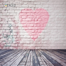 Laeacco Brick Wall Wooden Board Love Heart Portrait Photography Backgrounds Customized Photographic Backdrops For Photo Studio