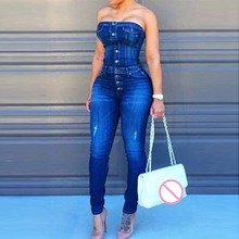 Sexy Button Up Off Shoulder Denim Overalls Skinny Jumpsuits For Women 2018 Plus Size Playsuit Casual One Piece Jumpsuit Jeans