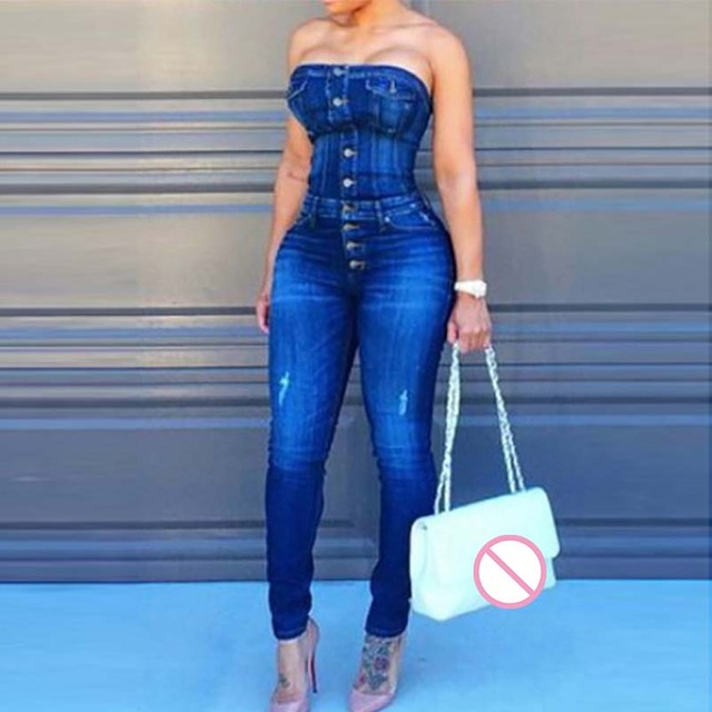 bdb7c0d2c8f4 Sexy Button Up Off Shoulder Denim Overalls Skinny Jumpsuits For Women 2018  Plus Size Playsuit Casual One Piece Jumpsuit Jeans