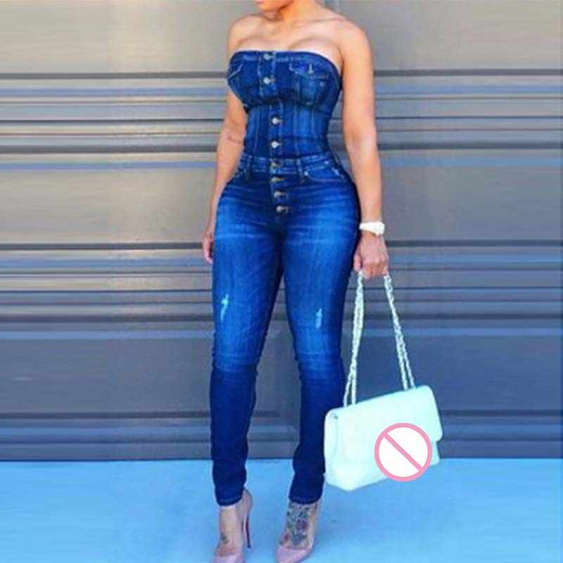 5a94017920 Sexy Button Up Off Shoulder Denim Overalls Skinny Jumpsuits For Women 2018  Plus Size Playsuit Casual One Piece Jumpsuit Jeans