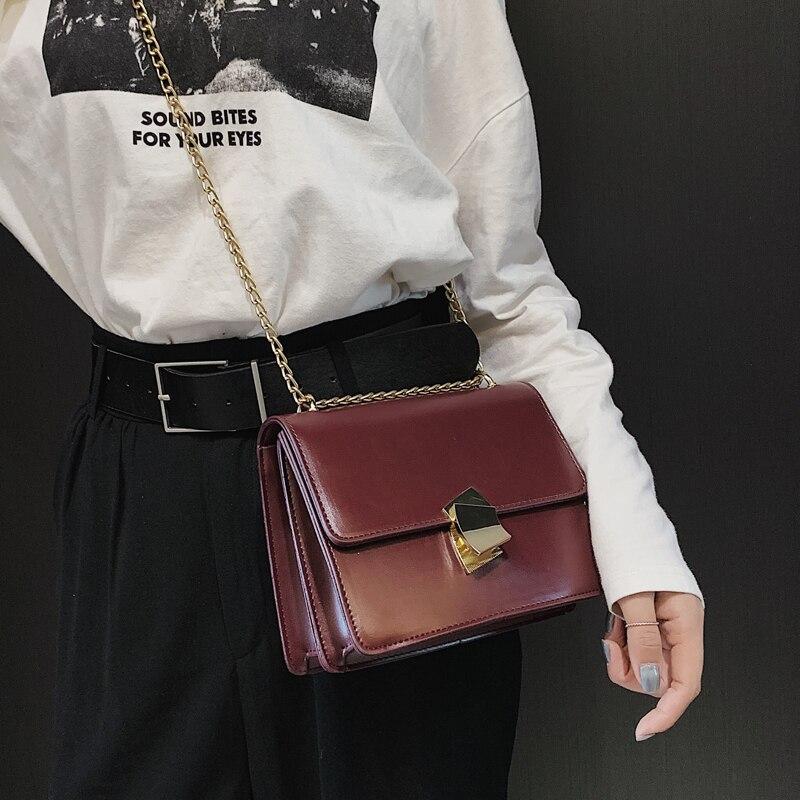 2019 Spring Fashion New Lock Square bag High Quality PU Leather Women's Designer Handbag Sweet Girl Chain Shoulder Messenger bag 3