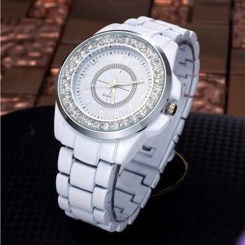 42ba8e58ca1a Venta caliente de las mujeres de la moda de diamantes de imitación relojes  imitación cerámica mujeres reloj de vestir Casual de cuarzo relojes de  pulsera ...