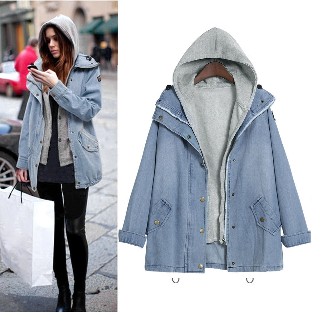Free Ostrich Denim Jacket Women Jackets Loose Hooded Tops Cowboy Two Denim Jacket Women Coat Plus Size 4XL L1825 1