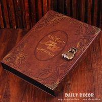 10 inch DIY vintage handmade lock photo album with copper password lock gift set family photo book retro photo album