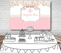custom pink floral first communion background High quality Computer print party backdrops