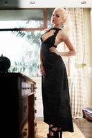Satin Black Evening Dress Lingerie Gown XS S M