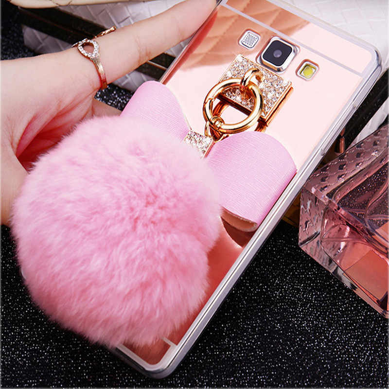 Bowknot Rabbit Fur Ball Mirror Case For Samsung Galaxy S10 S9 S8 Plus S10E A3 A5 A7 A8 J3 J5 J7 2015 2016 2017 A520 Case