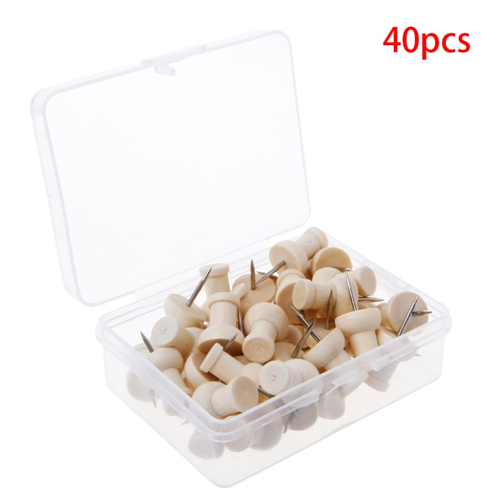 40 Pcs Wooden Thumbtack Creative Decorative Drawing Push Pins Wood Head Office