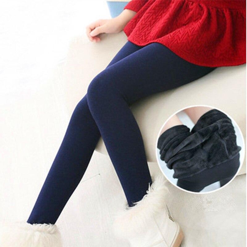 Плотные колготки с начесом для девочек на осень и зиму, 1 шт., теплая одежда для маленьких девочек, детские гольфы, 3 размера, однотонные детск...