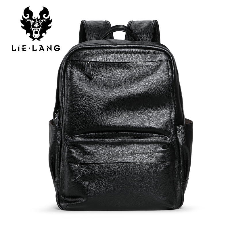 Men s Genuine Leather Backpack Laptop Male School Bag High Quality Men Daypack Korea Style Casual