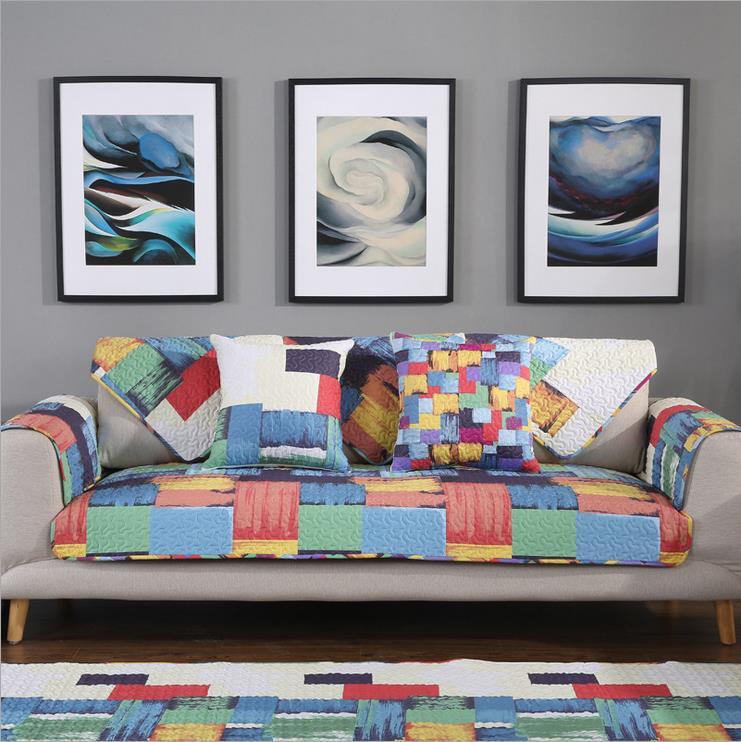 unidades sof cubierta de tela de algodn estampado de cuadros de colores europeos estilo moderno