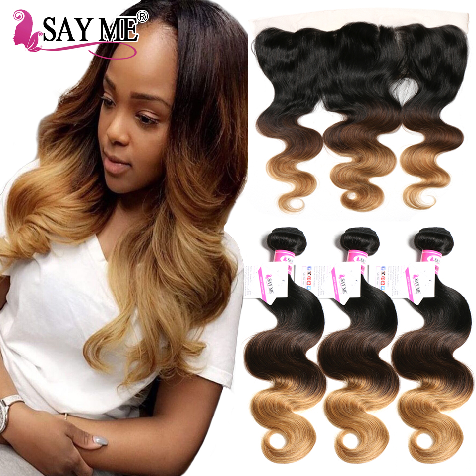 Blonde 13x4 Lace Frontal Closure With Bundles Body Wave Human Hair Ombre Brazilian Hair Weave Bundles With Closure SAYME Nonremy
