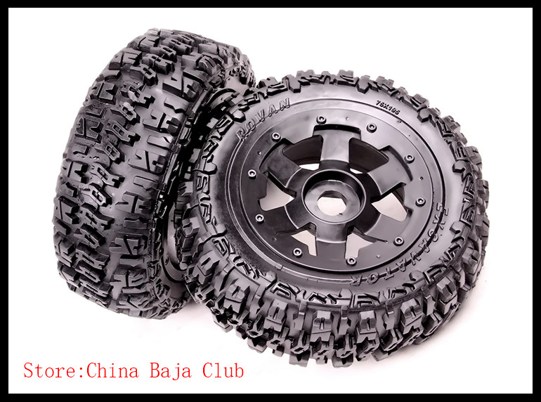 1:5 BAJA 5T Knobby Front wheel & tyres FOR HPI KM RV BAJA 5T 5SC 195X75 alloy front hub carrier for 1 5 hpi baja 5b 5t 5sc