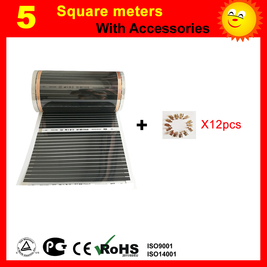 TF floor Heating film 5 Square meter with 12 clips AC220V infrared heating film 50cm x