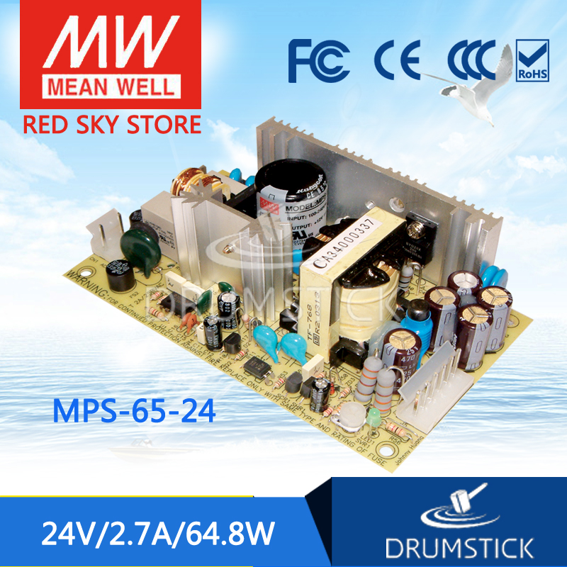 ФОТО Redsky [free-delivery 2Pcs] Hot! MEAN WELL original MPS-65-24 24V 2.7A meanwell MPS-65 24V 64.8W Single Output Medical Type