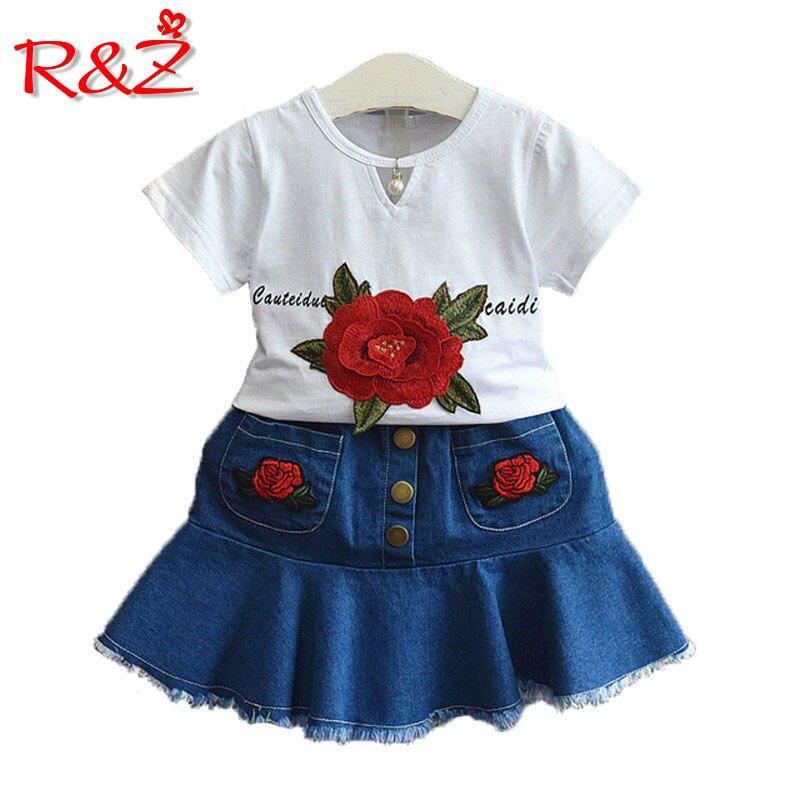 R & z/комплект одежды для маленьких девочек 2018 Новые Летние Вышитые цветок белая футболка платье из джинсовой ткани костюм из двух частей дет...