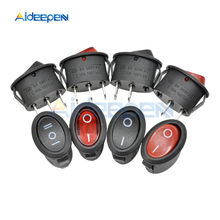 KCD7 AC 6A/250V 10A/125V Mini Round Boat Marine Switches Rocker Switch Black Red 2Pin 3Pin ON-OFF ON-OFF-ON Rocker Switch momentary 6 pin dpdt black button on off on rocker switch ac 250v 10a 125v 15a