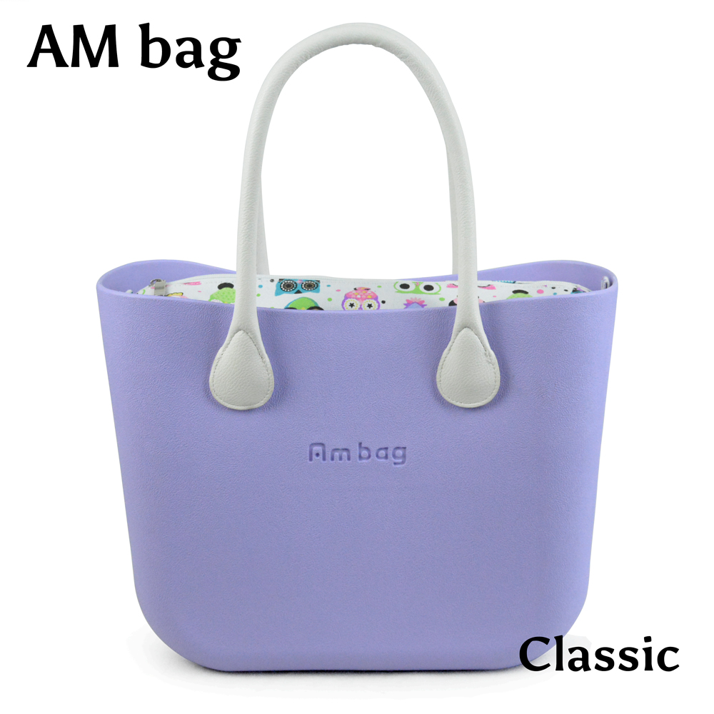 AMbag New Obag O Bag Style Waterproof Classic Big Ambag EVA Bag with Floral Canvas Insert