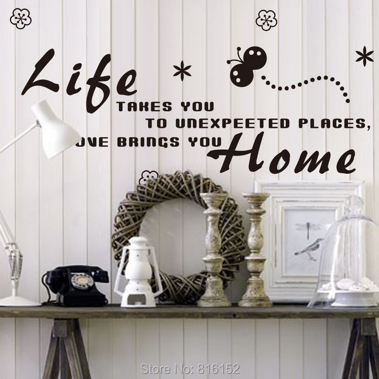 Life Takes You To Unexpected Places Love Brings You Home Quote Diy Art Wall Stickers Sticker Home Decal