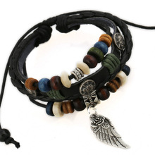Men's Bracelets Fashion Leather Jewelry for Women Gift Adjustable Length with Wing Wood Beads Bangle Punk Style