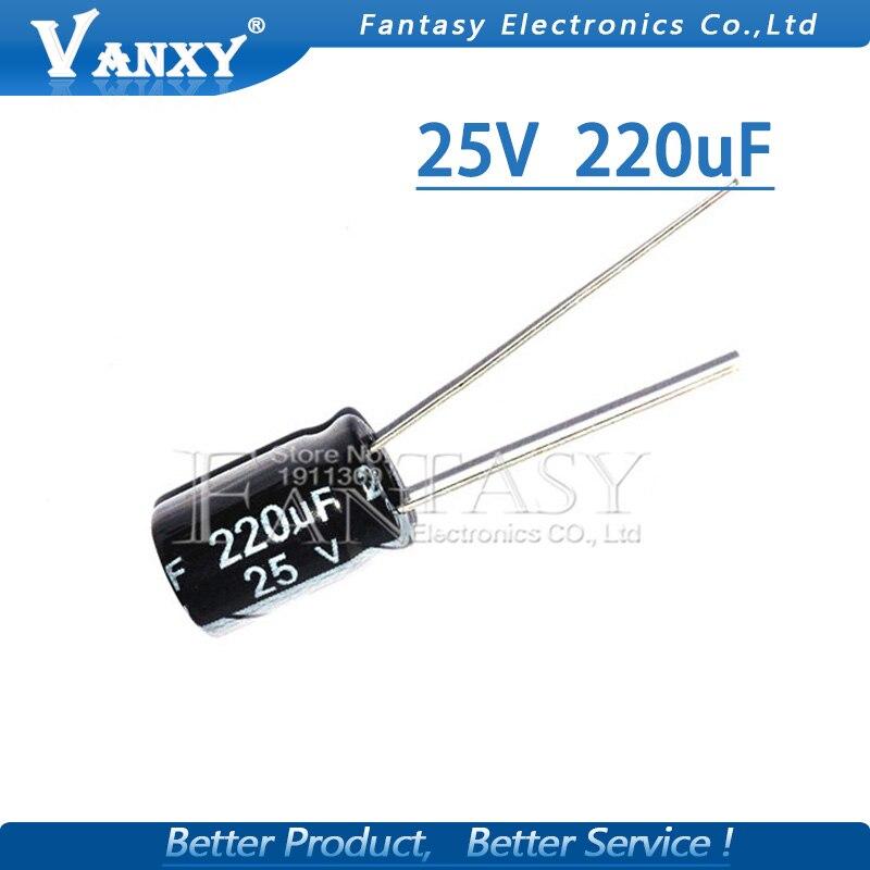 50PCS Higt Quality 25V220UF 6*12mm 220UF 25V 6*12 Electrolytic Capacitor