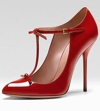 купить Vintage Red Patent Leather T-bar Strap Wedding Shoes Bride Pointed Toe Ankle Strap Thin Heels Women Shoes High Heels Plus Size по цене 4920.66 рублей