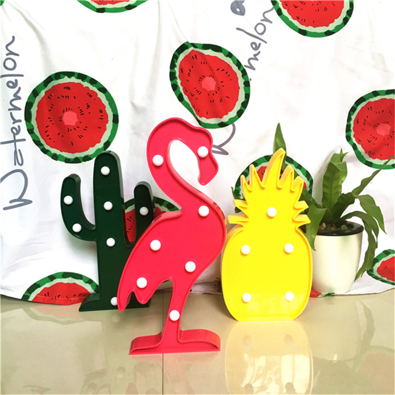 Lumiparty Marquee LED Star Night Light for Home Christmas Decoration 3D LED Shine Flamingo Lamp Pineapple Table Light Cactus