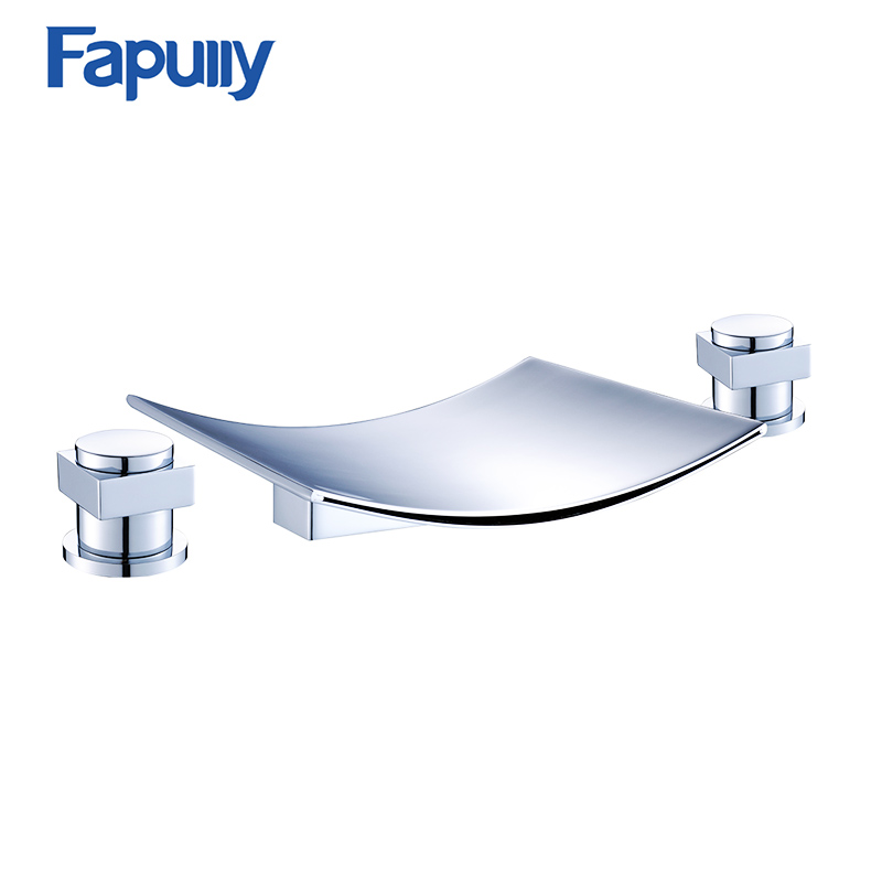 Fapully Waterfall Bathroom Faucet Deck Mounted Bathtub Chrome Finish Basin Sink Faucet Mixer fapully bathroom waterfall basin faucet deck mounted automatic hands touch sensor water faucet waterfall sink tap