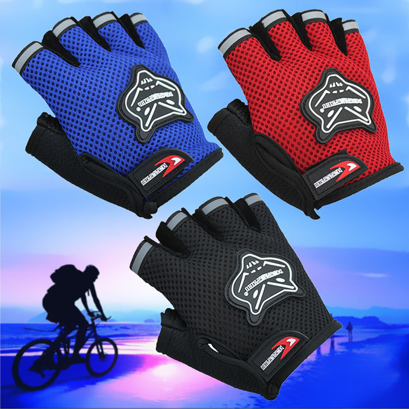 Kids Fingerless Gloves Cycling Bicycle Half Finger Children Breathable Hiking US