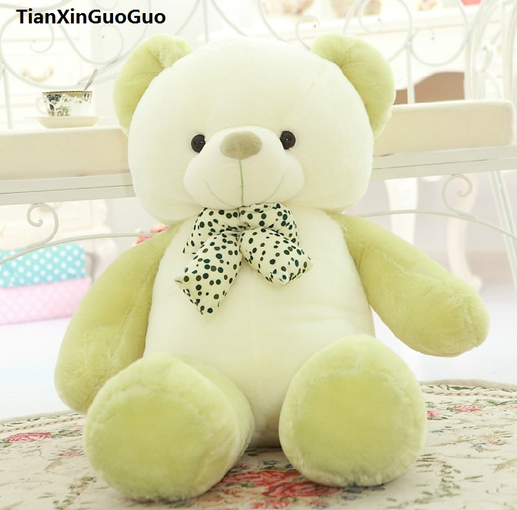 stuffed plush toy bowtie teddy bear green bear doll about 80cm soft throw pillow,birthday gift h0702 cute cartoon ladybird plush toy doll soft throw pillow toy birthday gift h2813