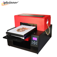 Jetvinner Full Automatic Flatbed Printer 6 color A3 Size Print Machine DTG Printers with Textile Ink for T shirt, Clothing