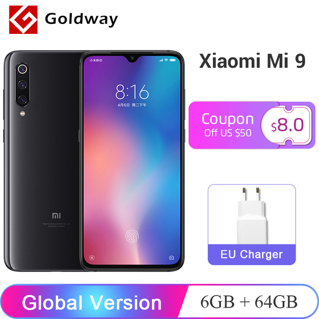 "Global Version Xiaomi Mi 9 Mi9 Mobile Phone 6GB RAM 64GB ROM Snapdragon 855 Octa Core 6.39"" AMOLED Screen 48MP Triple Camera"