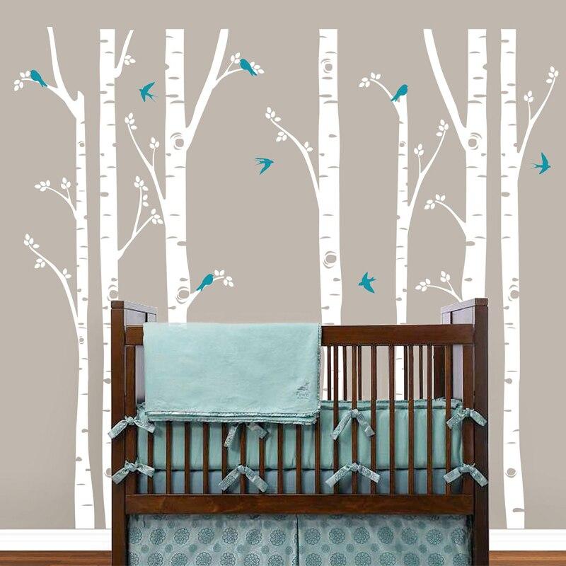 ᗐضخم البتولا شجرة الطيور الجدار ملصق الفينيل الحضانة جدار الفن
