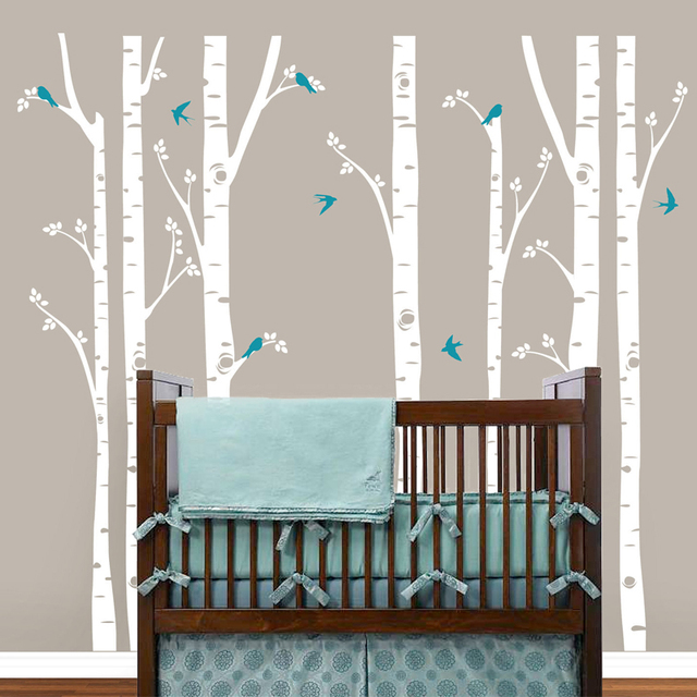 ضخمة البتولا شجرة الطيور الجدار ملصق الفينيل الحضانة جدار الفن ملصقات صناعة يدوية للأطفال غرف الطفل صور مطبوعة للحوائط شجرة فروع ديكور المنزل