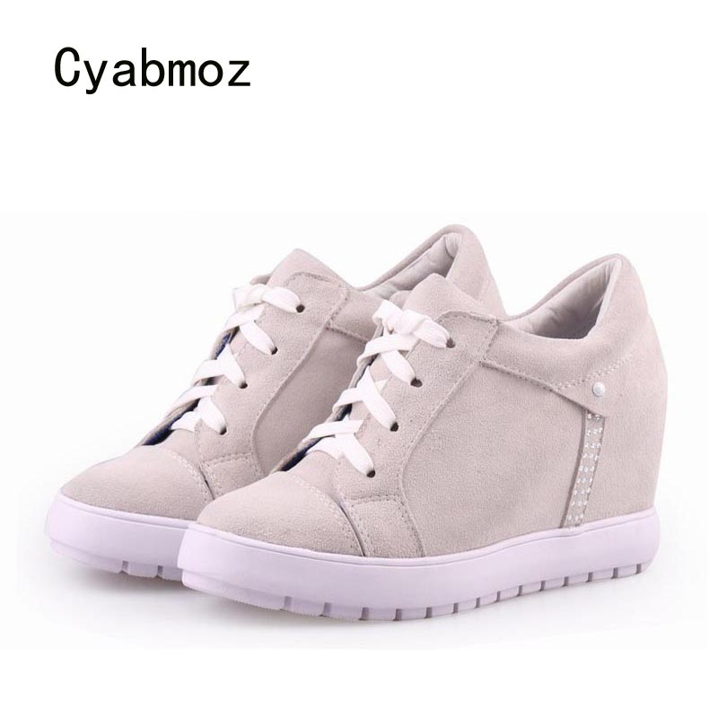 Cyabmoz Women Shoes High heels Woman Genuine leather Platform Wedge Ladies Zapatillas deportivas Zapatos mujer Rhinestone shoes 2017brand sport mesh men running shoes athletic sneakers air breath increased within zapatillas deportivas trainers couple shoes