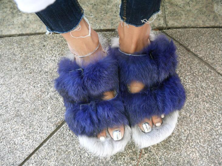 Fashion Blue Rabbit Fur Women Open Toe Sandals Thicken Buckles Ladies Cut Out Flat Sandals Summer Slip On Sandals fashion blue rabbit fur women open toe sandals thicken buckles ladies cut out flat sandals summer slip on sandals