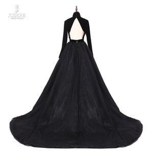 Image 3 - Jusere prawdziwe zdjęcia wysokiej szyi powrót otwórz czarne suknie balowe jedwab aksamit linia wieczorowa sukienka z ogonem szata de soiree 2019