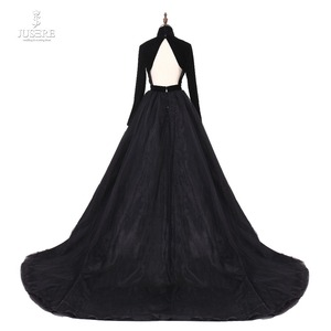 Image 3 - Jusere 리얼 포토 하이 넥 백 오픈 블랙 댄스 파티 드레스 실크 벨벳 테일 로브 드 soiree 2019 라인 이브닝 드레스
